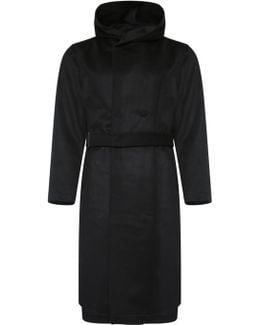 Woollen Hooded Belt Coat Black