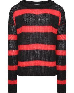Oversized Fine Knit Sweater Red/black