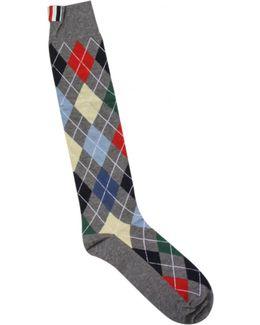 Argyle Calf Length Socks Grey
