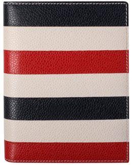 Striped Leather Passport Holder White