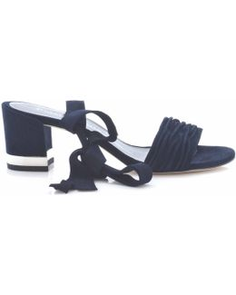 Swifty Navy Suede Ankle Strap Sandal