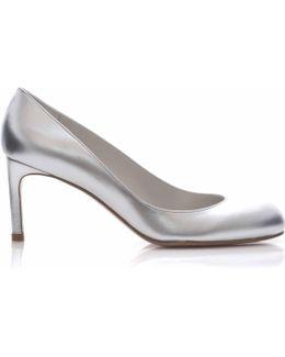 Moody Mid Heel Court Shoe In Silver