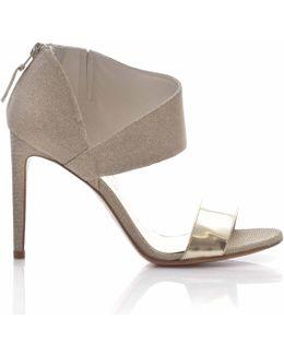 Getonup Gold Ankle Strap Heels
