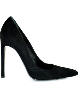 Tia Classic Black Suede Court Shoe