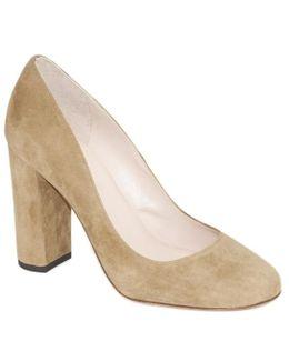 Suede Block Heel Court Shoe