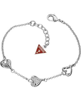Rhodium Plated Triple Heart Bracelet