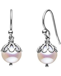 Emma Kate White Pearl Filigree Drop Earrings