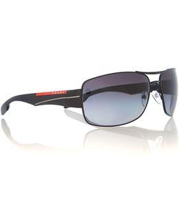 Men Polar Grey Gradient Rectangle Sunglasses