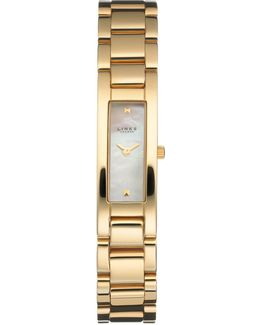 Selene White Dial Gold Plated Watch