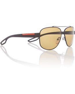 Ps 58qs Male Black Rectangle Sunglasses
