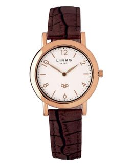 Noble Slim Brown Leather Watch