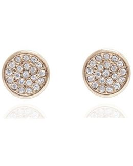 Pave Button Stud Earrings
