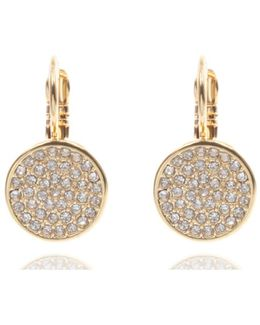 Pave Drop Disc Button Earrings