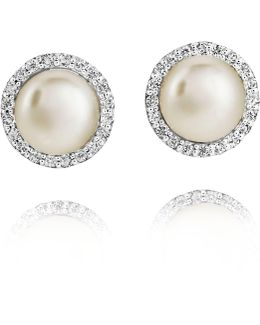 Freshwater Pearls & White Topaz Earrings
