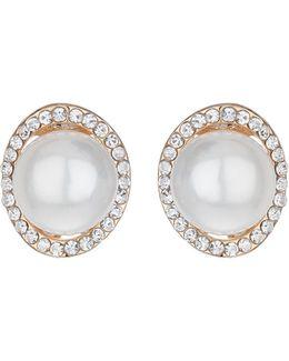 Hoop Crystal Pearl Stud Earring