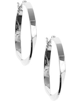 Silver Twisted Link Hoop Earrings