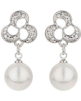 Knot Design Stud Drop Pearl Earring