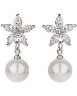Star Design Stud Drop Pearl Earring