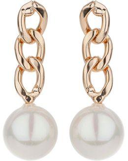 Chain Drop Pearl Earring