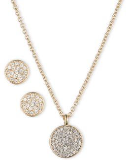 Box Set Pave Necklace And Earring Set