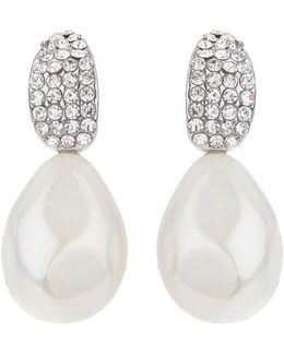 Curved Crystal Shape Pearl Drop Earring