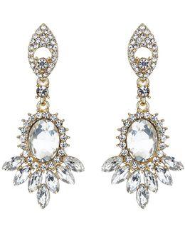 Twin Drop Oval Spike Crystal Earring