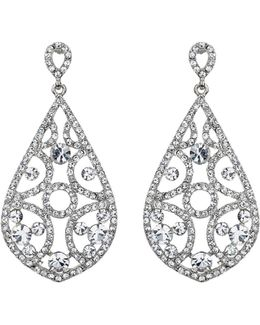 Filigree Crystals Oval Design Earring