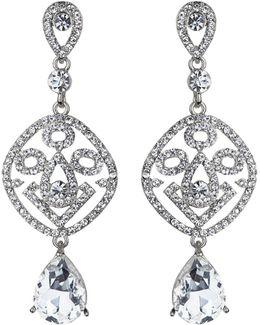 Filgree Crystal Diamond Drop Earring