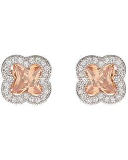 Cross Square Cubic Stud Earring