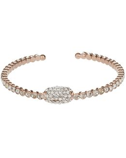 Oblong Cubic With Crystal Cuff Bangle