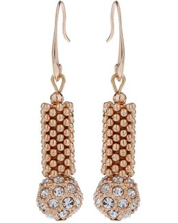 Metal Chain Crystal Cylinder Earring