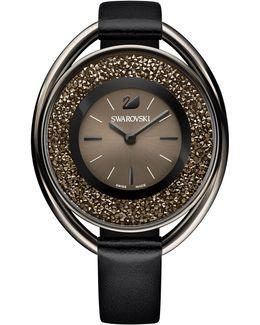 Women's Black-tone Crystalline Fabric Strap Watch 43mm