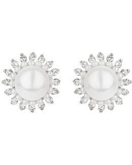 Multi Spike Crystal Pearl Centre Stud