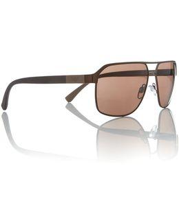 Brown Rectangle Ea2039 Sunglasses