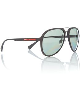 Brown Rubber Pilot 0ps 05rs Sunglasses