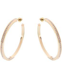 Gold & Crystal Large Hoop Earrings