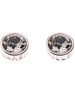 Silver & Crystal Logo Stud Earring