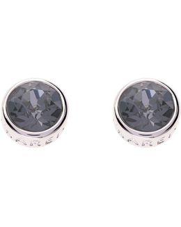 Silver & Grey Crystal Logo Stud Earring