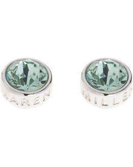 Logo Stud Earrings - Silver Colour