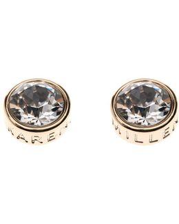 Gold & Crystal Logo Stud Earring