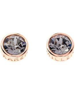 Rose Gold & Grey Logo Stud Earring