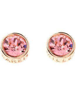 Rose Gold & Peach Logo Stud Earring