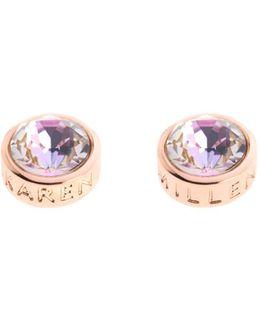 Logo Stud Earrings - Rose Gold Colour