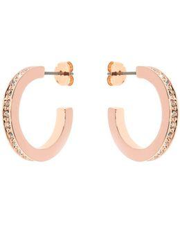 Rose Gold & Crystal Small Hoop Earrings