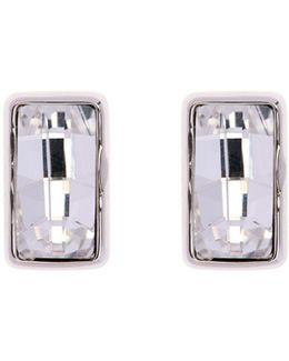 Silver Luxe Oblong Crystal Stud Earrings