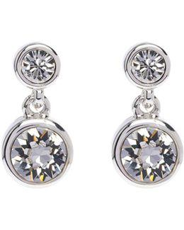 Silver & Crystal Dot Drop Earring