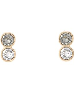 Gold & Crystal Tiny Dot Stud Earring