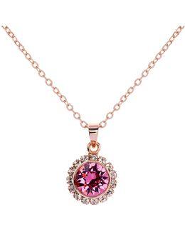 Sela Pink Crystal Daisy Pendant