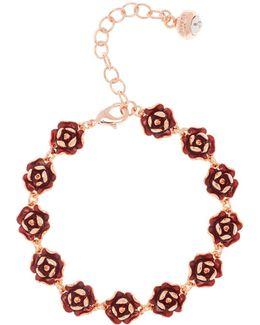 Elicia Red Enamel Rose Bracelet