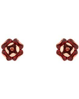 Esmea Red Enamel Rose Earring